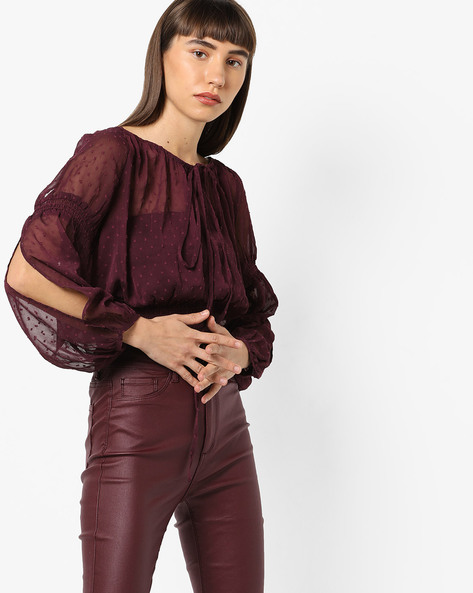 Blouson Top With Bishop Sleeves By AJIO ( Purple )
