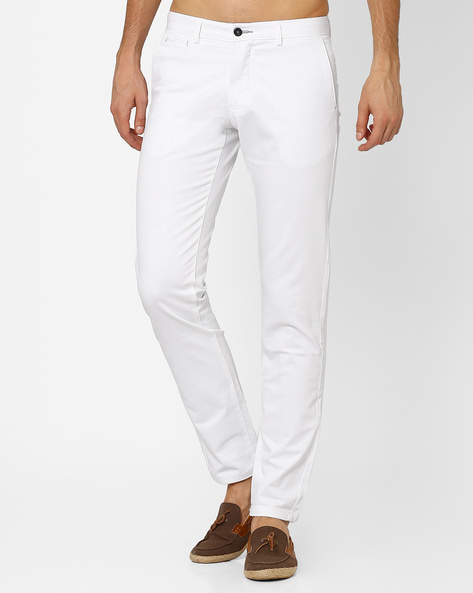 Flat-Front Slim Fit Trousers By BASICS ( White )
