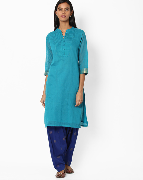 Straight Kurta With Zari Sleeve Hems By SIYAHI ( Blue )