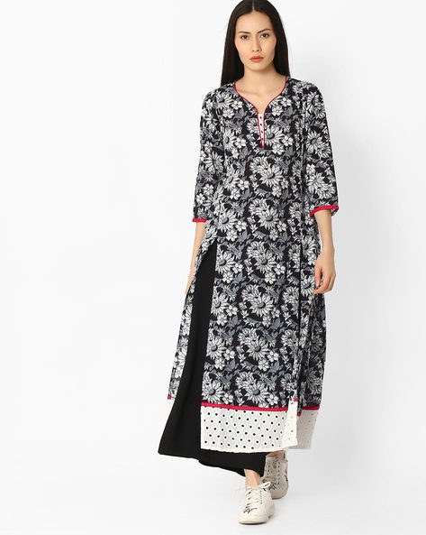 Floral Print A-line Kurta With Perforations By Jaipur Kurti ( Black )