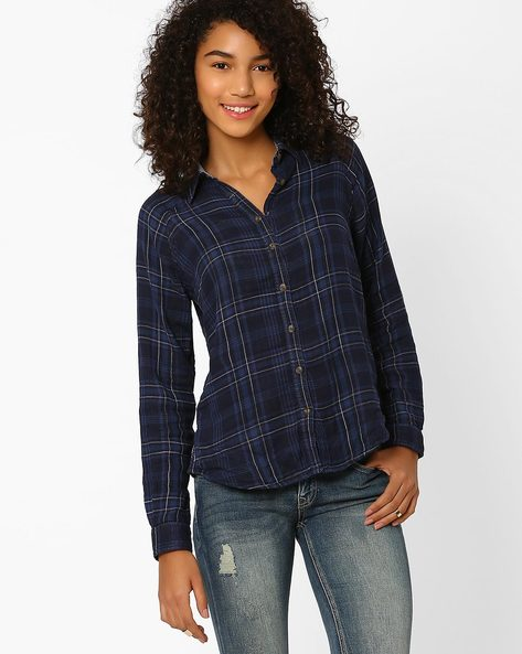 Checked Cotton Shirt By DNM X ( Navy )