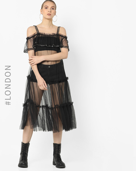 Sheer Dress With Metal Eyelets By Glamorous ( Black )