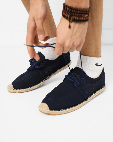 Panelled Espadrilles With Lace-Ups By AJIO ( Navy )