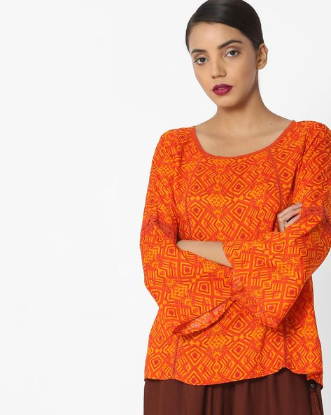 Printed Top With Crochet Insets By Akkriti By Pantaloons ( Yellow )