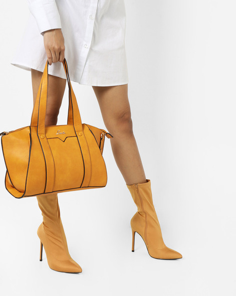 Satchel Bag With Zip Closure By Lavie ( Yellow )