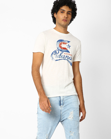 Printed Slim Fit Cotton T-shirt By Jack & Jones ( Sblue )