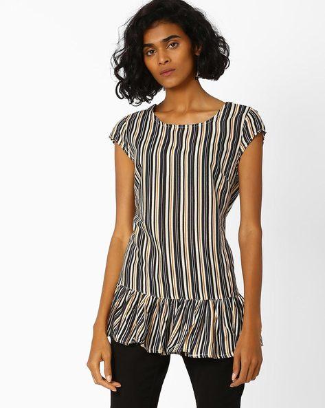 Striped Top With Ruffled Hemline By AJIO ( Black )