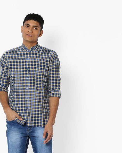Checked Shirt With Mandarin Collar By LEVIS ( Yellow )