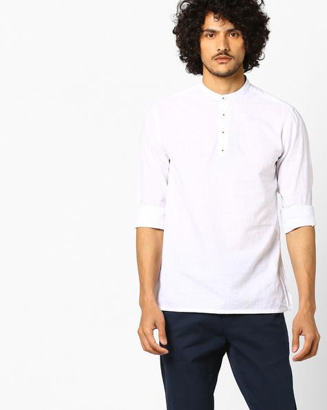 Slub Cotton Shirt Kurta By NETPLAY ( White )