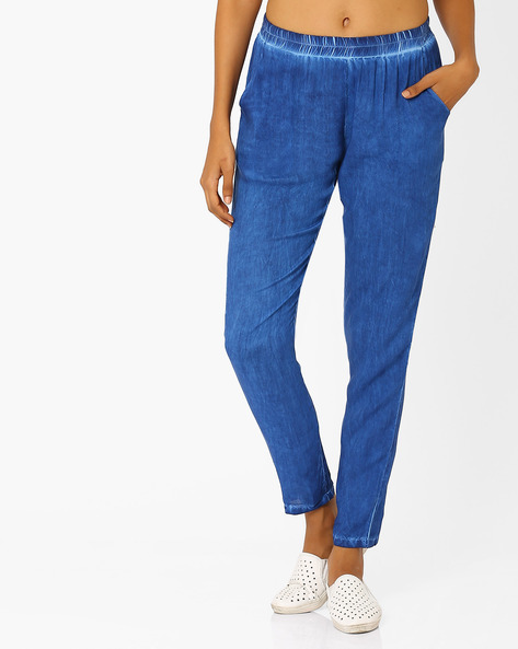 Tapered Pants By AJIO ( Blue )