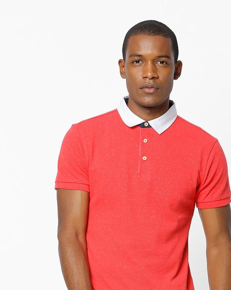 Speckled Polo T-shirt With Contrast Collar By UNITED COLORS OF BENETTON ( Red )