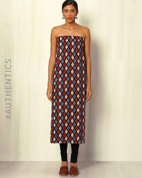 Ajrak Handblock Print Cotton Kurta Fabric By Indie Picks ( Multi ) - 460045256001