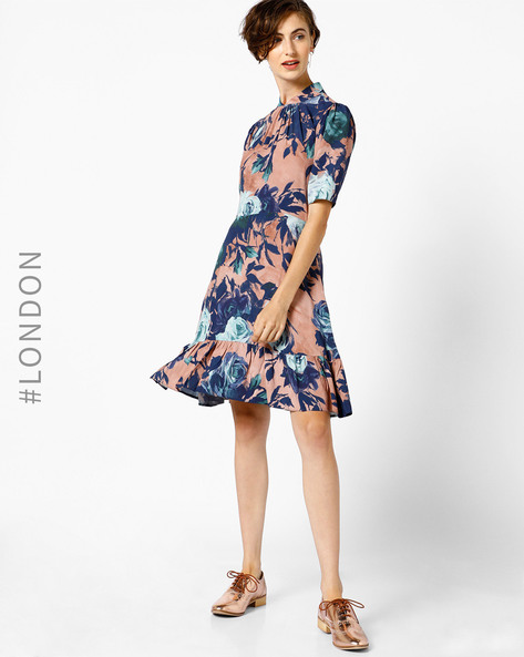 Printed Gathered Hem Dress By Closet London ( Multi )