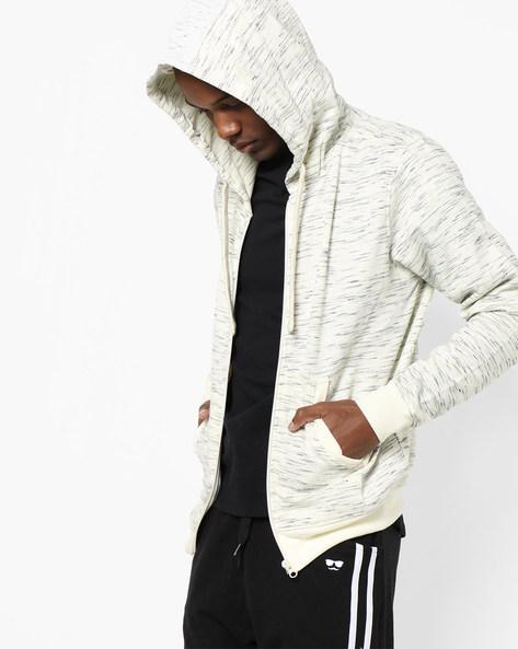 Hooded Sweatshirt With Front Zipper By AJIO ( Ecru )