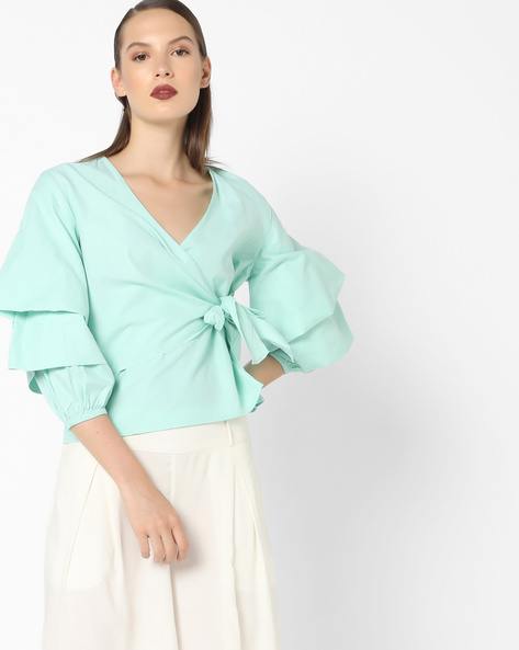 Blouson Top With Tiered Sleeves By AJIO ( Aqua )