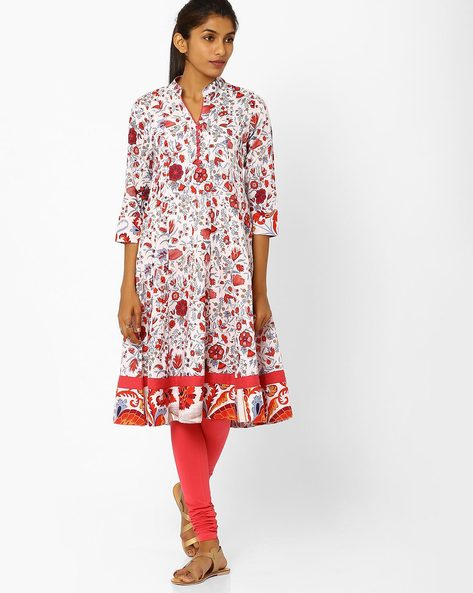 Flared Kurta With Floral Print By AJIO ( White )
