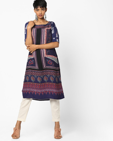 Printed Layered Tunic By PE IW Fusion ( Blue )