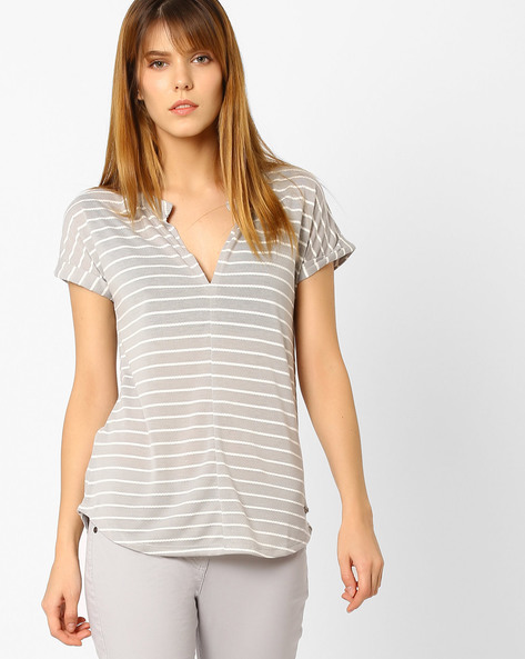 Striped T-Shirt With Curved Hem By DNM X ( Ltgrey )