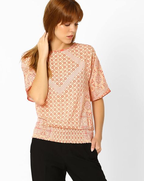 Printed Blouson Top By Style Quotient By Noi ( Cream )