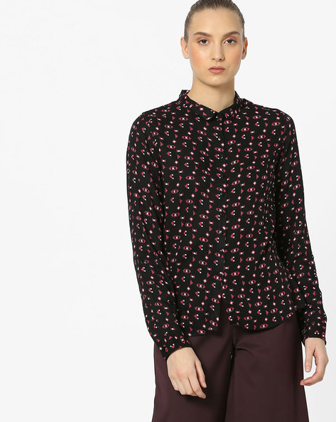 All-Over Print Shirt With Slim Collar By Alibi ( Black )