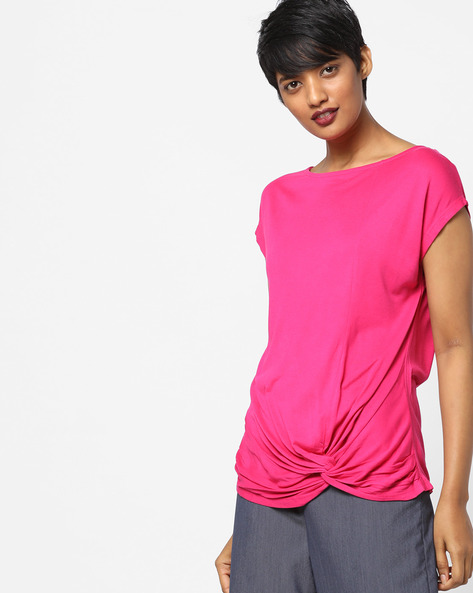 Short-Sleeves Top With Knot Detail By AJIO ( Fuchsia )