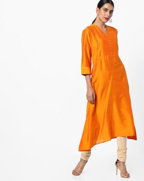 A-line Kurta With Mandarin Collar By Shree ( Mustard )