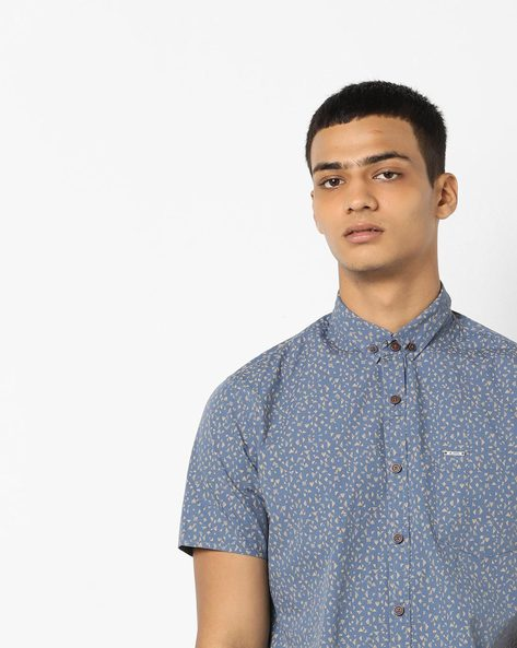 Geometric Print Slim Fit Shirt By AJIO ( Navyblue )