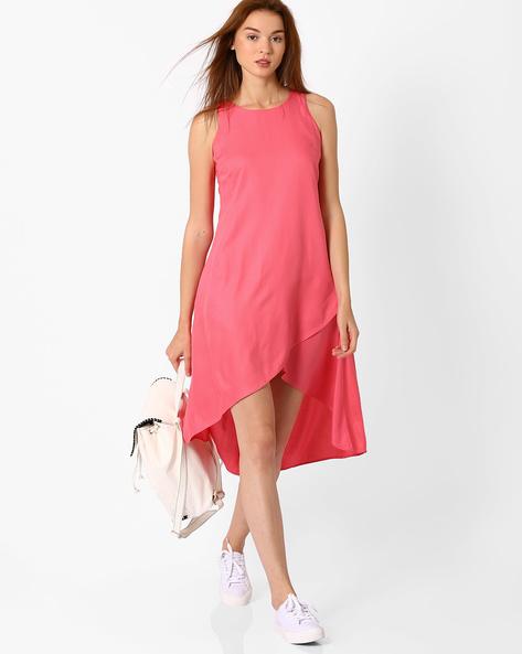 Sleeveless High-Low Dress By AJIO ( Pink )