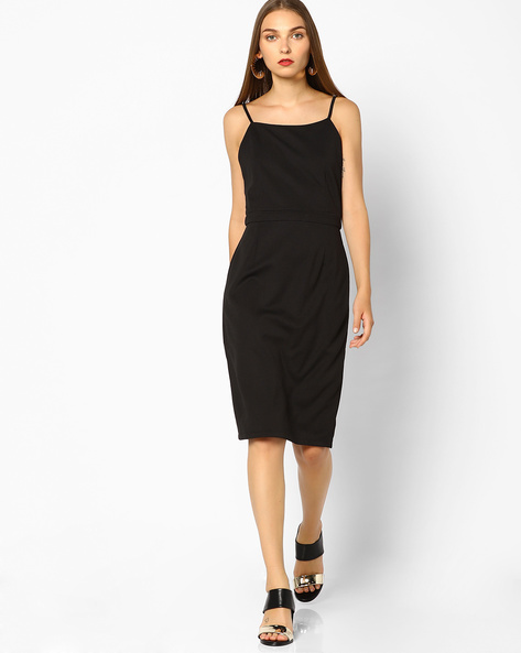 Bodycon Dress With Strappy Sleeves By AJIO ( Black )