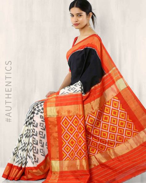 Handwoven Pure Silk Pochampally Ikat Saree By Indie Picks ( Red ) - 460017460001