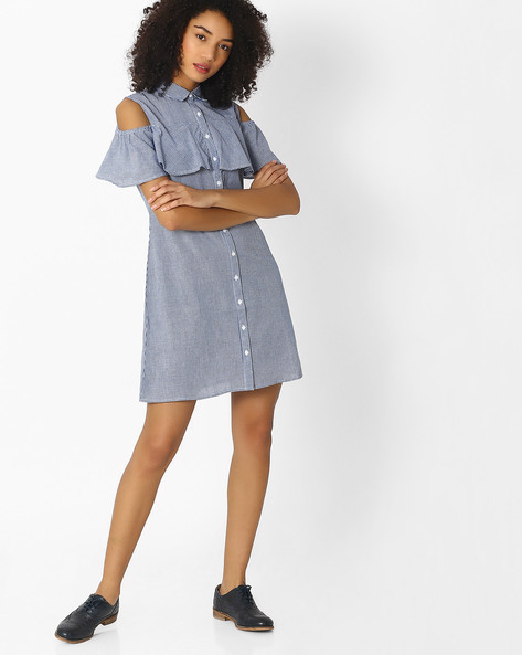 Shirt Dress With Cold Shoulders By Femella ( Blue )