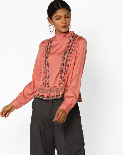 Peplum Top With Floral Embroidery By AJIO ( Pink )