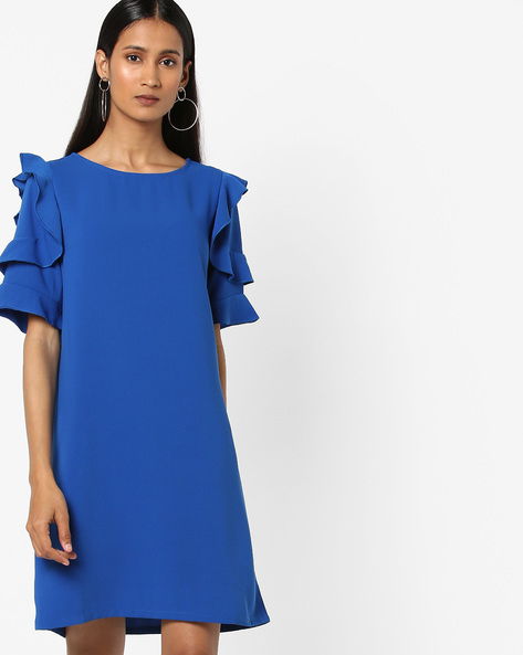 Round-Neck Shift Dress With Ruffled Sleeves By AJIO ( Navy )
