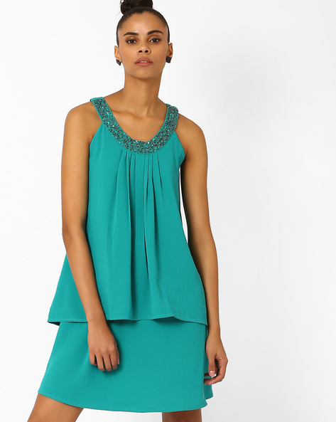 Layered Dress With Embellished Neckline By AJIO ( Teal )