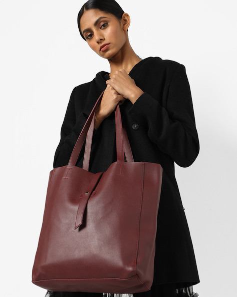 Handbag With Slip Pocket By 20Dresses ( Maroon )