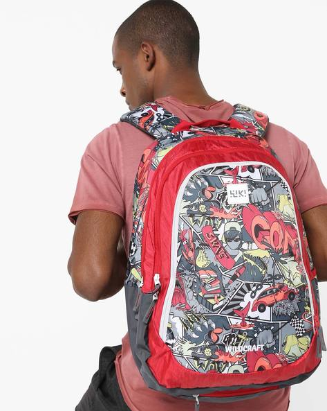 Graphic Print Backpack By Wildcraft ( Red )