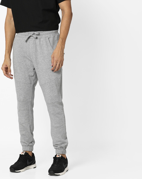Panelled Joggers With Elasticated Waistband By AJIO ( Lightgrey )