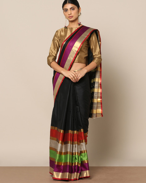 Mercerised Cotton Striped Saree With Zari Border By Indie Picks ( Black )