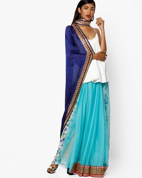 Half & Half Net Embroidered Saree By Florence ( Navyblue )