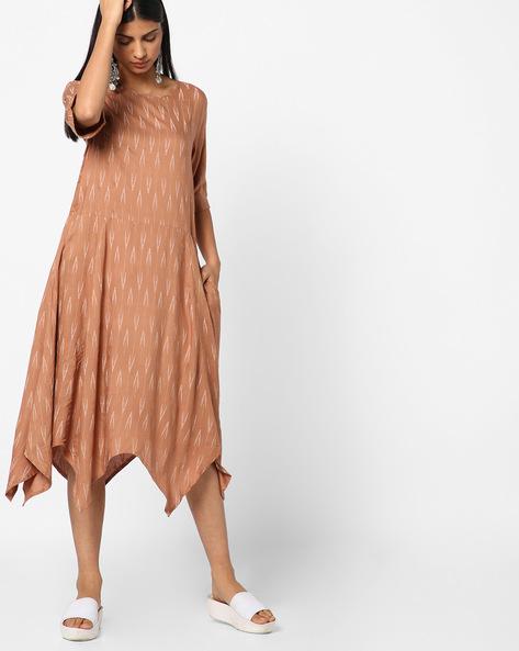 Printed Dress With Handkerchief Hem By AJIO ( Brown )