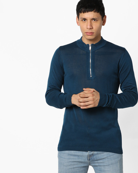 High-Neck Pullover With Front Zipper By Jack & Jones ( Blue )