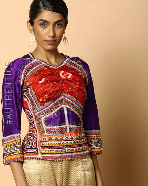 Kutch Embroidered Backless Blouse By Indie Picks ( Multi ) - 460103677001