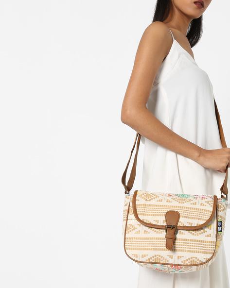 Jacquard Weave Sling Bag By Kanvas Katha ( Tan ) - 460124259001