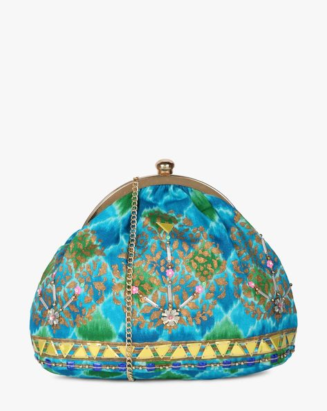 Printed Sling Clutch With Hand Embroidery By Neonia ( Blue ) - 460187215001