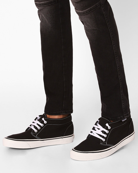 Low-Top Canvas Sneakers By Vans ( Black )