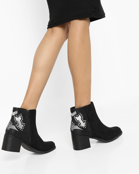 Embellished Block-Heeled Ankle Boots By Truffle Collection ( Black )