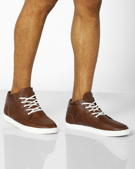 Mid-Top Lace-Up Sneakers By AJIO ( Tan )
