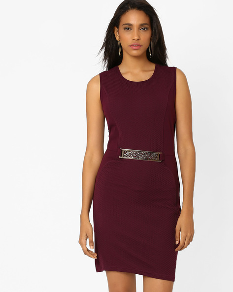 Panelled Sheath Dress With Metal Trim By AJIO ( Purple )