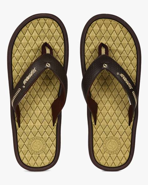 Raptor Flip-Flops With Patterned Footbed By Sole Threads ( Brown )
