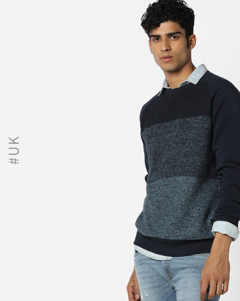 Knitted Crew-Neck Sweatshirt By BRAVE SOUL ( Blue )